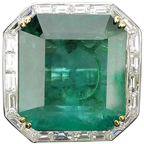 AONEW Party Cocktails Solitaire Ring Emerald Square CZ White Gold Fashion Band Size 5-10 Size 8 -