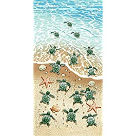 GEEZY Large Lightweight Microfiber Beach Towel Sports Travel Camping Gym, Turtles Design, 70 x 140 cm