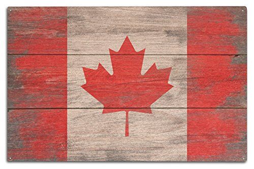 Canada Vintage Flag (Rustic Canada Country Flag (10x15 Wood Wall Sign, Wall Decor Ready to Hang))