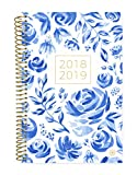 Bloom Daily Planners 2018-2019 Academic Year Day Planner - Monthly/Weekly Calendar Book - Inspirational Dated Agenda Organizer - (August 2018 - July 2019) - 6'' x 8.25'' - Blue & White Floral