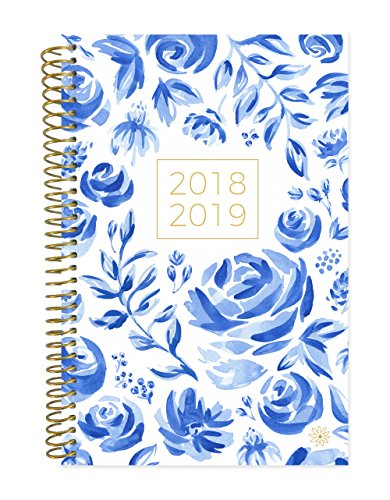 Bloom Daily Planners 2018 2019 Academic Year Day Planner   Monthly Weekly Calendar Book   Inspirational Dated Agenda Organizer    August 2018   July 2019    6  X 8 25    Blue   White Floral