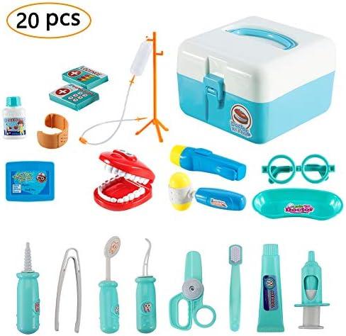 Twister.CK Childrens Doctors Kit, Zahnarzt Spielzeug Kinder Rollenspiel Werkzeug Krankenschwester Spielzeug mit 20 Stück Tragetasche für Kleinkinder Jungen, blau