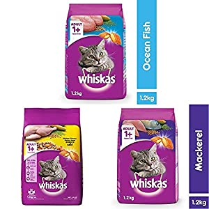 Whiskas Adult (+1 Year) Dry Cat Food, Ocean Fish Flavour, 1.2kg Pack & Adult (+1 Year) Dry Cat Food, Chicken Flavour, 1…