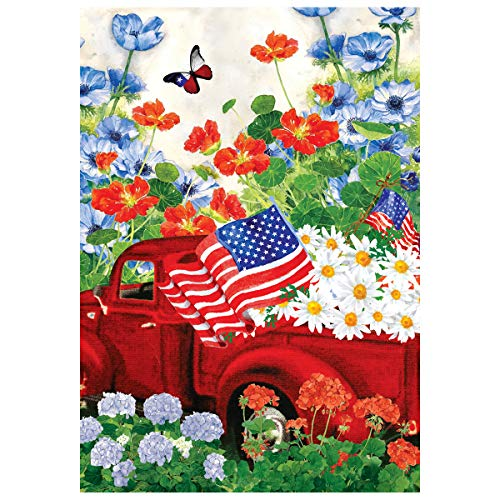 Texupday Patriotic Red Truck Celebrate The USA Double Sided America Floral Daisy House Flag Outdoor Yard Flag 28