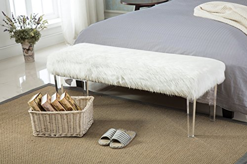 Pure White Glamorous Soft Faux Fur Modern Style Decorative Bench Footrest Ottoman Nailed Acrylic (Style Storage Bench)