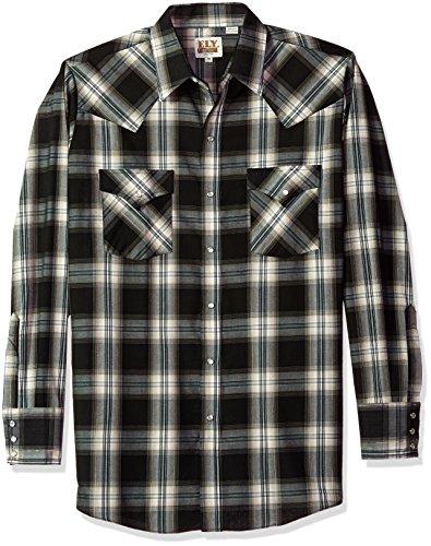 Ely & Walker Men's Long Sleeve Lurex Plaid Shirt, Black Plaid, X-Large (Plaid Shirt Lurex)