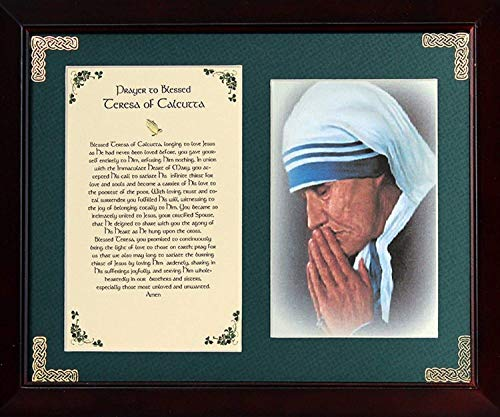 Calcutta Collection - Prayer to Blessed Teresa of Calcutta - 8x10 Inch Framed Green Matted With Photo