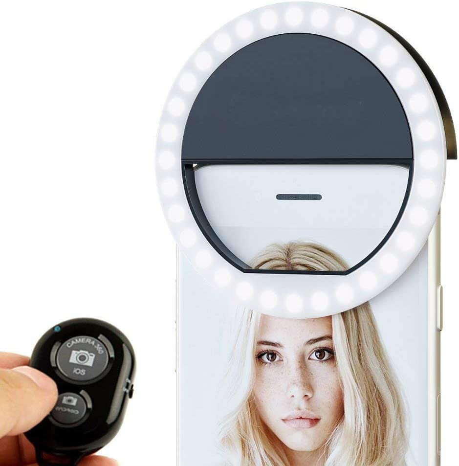 V-Star Selfie Ring Light Rechargable 36 LED Natural Light Lighting Clip On Phone Tablet Laptop Photography Phone Remote Control Camera Photos Video Black