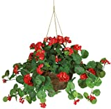 artificial flowers for outdoors - Nearly Natural 6609-RD Geranium Hanging Basket Decorative Silk Plant, Red