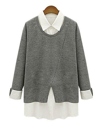 GSP-Damen Kleid - Übergrößen Übergröße / Sexy Patchwork Mini Polyester Rundhalsausschnitt / Hemdkragen
