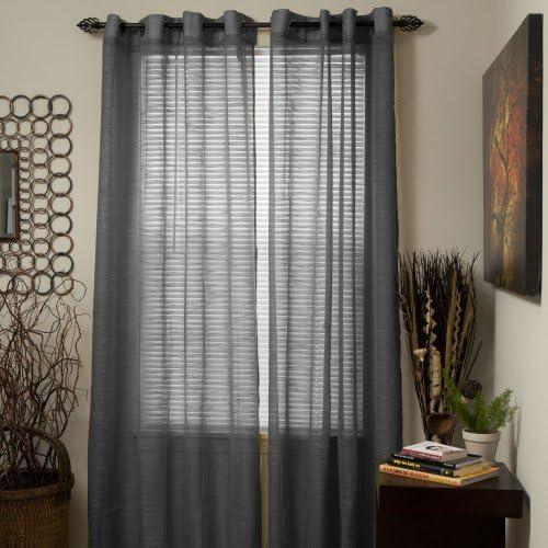 Lavish Home Mia Jacquard Grommet Single Curtain Panel