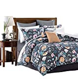 SexyTown King Duvet Cover Set with Zipper Closure 100% Egyptian Cotton Duvet Cover King Printed Reversible 3 Piece Bedding Set with 1 Quilt Cover and 2 Pillowcases(King, P)