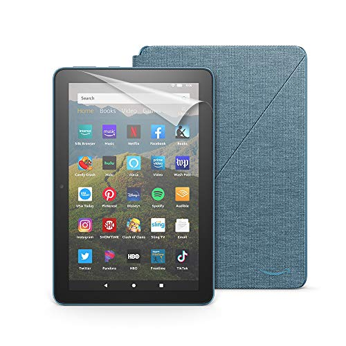 Fire HD 8 Essentials Bundle including Fire HD 8 Tablet (Twilight Blue, 32GB) Ad-Supported, Amazon Standing Case (Twilight Blue), and Nupro Clear Screen Protector