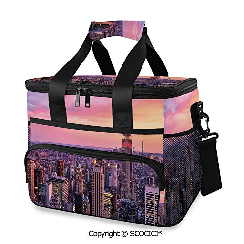 SCOCICI Large Soft Cooler Insulated Picnic Bag New York City Midtown with Empire State Building Sunset Business Center Rooftop Photo for Grocery, Camping, Car