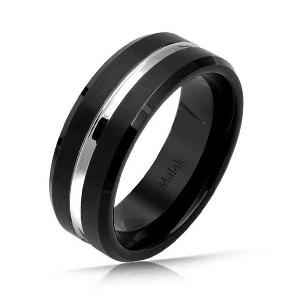 Bling Jewelry Personalized Simple Center Couples Titanium Wedding Band Ring for Men for Women Comfort Fit 8MM Custom Engraved
