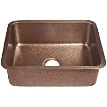Sinkology SK201-23AC Classic Renoir Undermount copper Sink 23 In. Single Bowl Kitchen Sink In Antique copper, 23 , Hammered Antique Copper