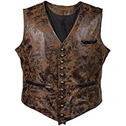 Mens Real Brown PU Faux Leather Heavy Duty Steampunk Gothic Style Vest Waistcoat (XL, Brown)