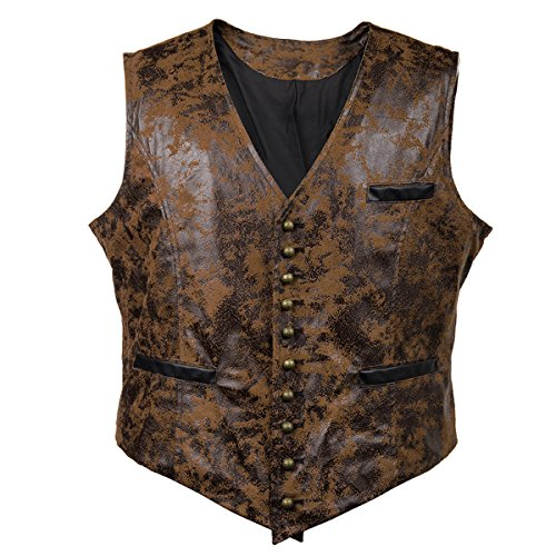Mens Real Brown PU Faux Leather Heavy Duty Steampunk Gothic Style Vest Waistcoat (L, Brown) ()
