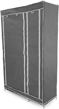 PrimeMatik - Armario ropero guardarropa de Tela Desmontable 110 x 45 x 175 cm Gris Doble con Puertas enrollables