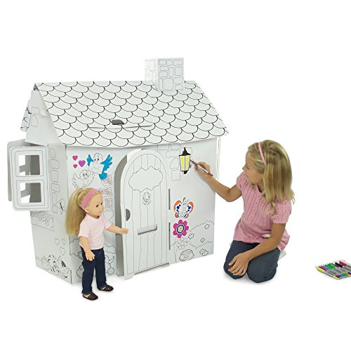 Emily Rose Doll Clothes Incredible Dollhouse or Kid's Play House, Ready to Paint and Decorate | Great Party Activity! (Country Cottage)]()