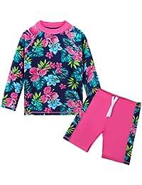 TFJH E Girls Long Sleeve Swimsuits UPF 50+ Rash Guard Swimwear Beachwear hotpink Size 5/6, Navy Flower 116/122