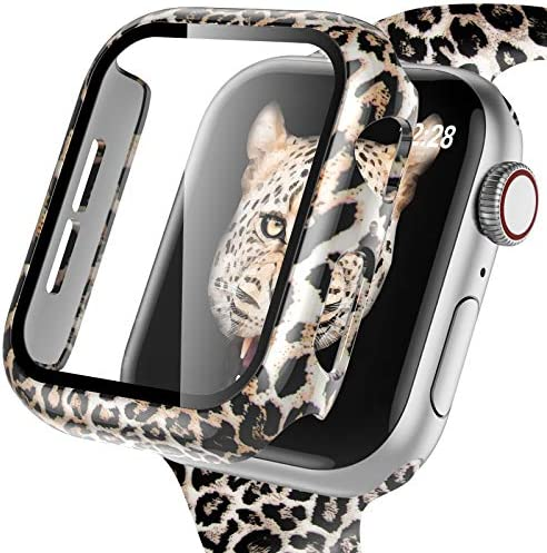 GEAK Leopard Case Compatible with Apple Watch Series 3/2/1 with Screen Protector 38mm, High Sensitivity Protective Case with Fadeless Printed Pattern for Apple Watch Series 3 38mm Case Classic Leopard