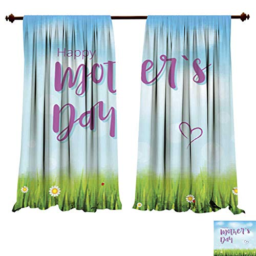 DragonBuildingMaterials Curtains for Bedroom Happy Mother Day Realistic Greeting Banner for Your Congratulations Cards on Spring Backdrop with Flowers Green Grass Blue Picture Print