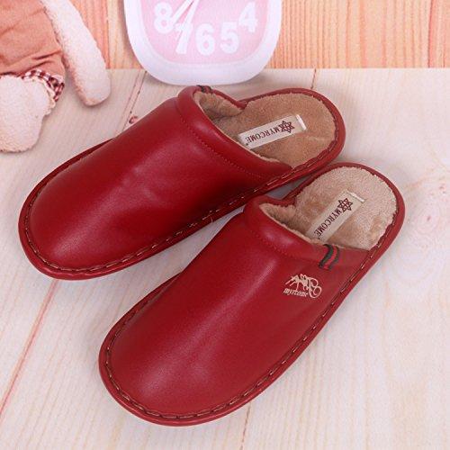 Fankou pantofole uomini e donne matura Impermeabili di cotone pantofole pantofole ,39/40, rosso