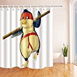 Animal Decor Shower Curtains By KOTOM Angry Kongfu Bird Bath Curtains, 72X72 Inches