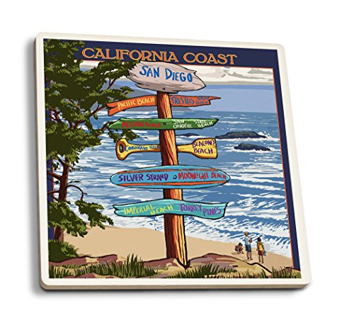 San Diego, California - Destinations Sign (Set of 4 Ceramic Coasters - Cork-backed, Absorbent) San Diego Coasters