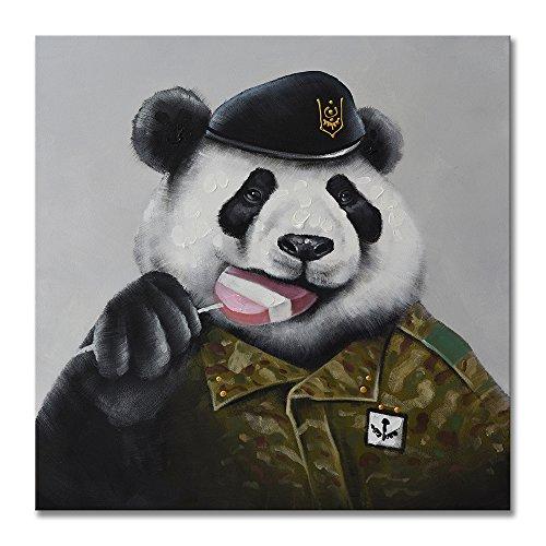 Modern 100% Hand Painted Framed Wall Art Cute Animal Panda Eating Lolipop Artwork for Wall Decor Home Decoration - SEVEN WALL ARTS Eating Framed