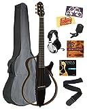 Yamaha SLG200S Steel String Silent Guitar - Trans Black Bundle with Gig Bag, Headphones, Tuner, Strap, Strings, Instructional DVD, Polishing Cloth