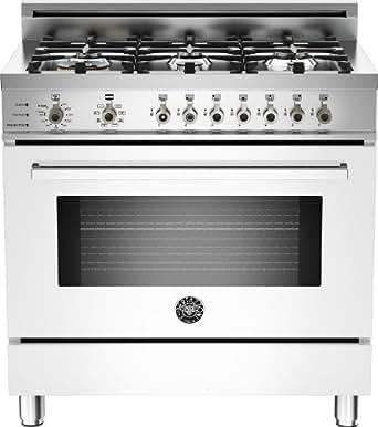 PRO366DFSBI | Bertazzoni Professional 36 Dual Fuel Range, 6 Burners, Natural Gas - Bianco White