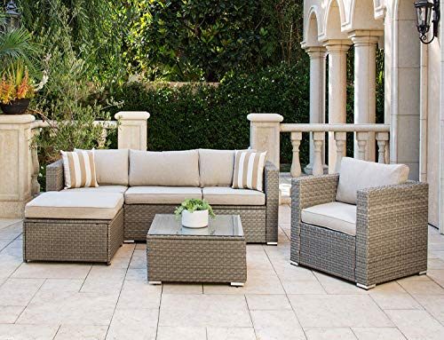 Solaura Outdoor Furniture Set 6-Piece Wikcer Furniture Modular Sectional Sofa Set Grey Wicker with Light Grey Cushions & Sophisticated Glass Coffee Table