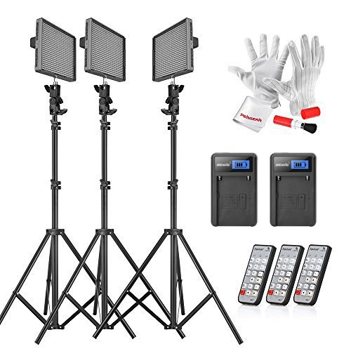 Emgreat® Aputure HR672KIT (HR672S + HR672W*2)672 Led Video Light Panel Studio Lighting Kit with 2.4G FSK Wireless Remote Control and Pergear Clean Kit by Aputure