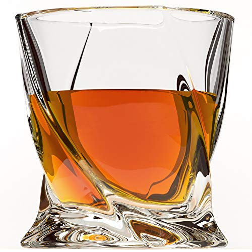 Crystal Drinking Glass - Crystal Whiskey Glass Set of 4 - Premium Lead Free Crystal Glasses - Twist Tasting Tumblers for Drinking Large 10 oz - Elegant Whisky Gift Box Set for Scotch or Bourbon