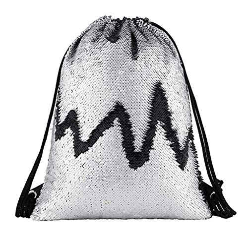 BOLUBILUY Drawstring Backpack Bags,Gym Cinch Storage Bag for Traveling Hiking Beach Outdoor Fitness Sequins Bunch Pocket