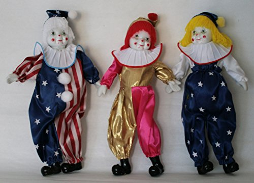 JOINER Trio Clown Porcelain Doll 8 Inches with Flag Day Cloth