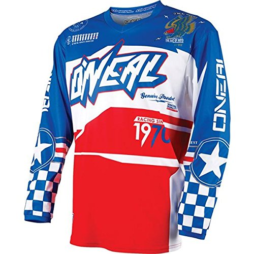 O'Neal Yth Element Unisex-Child Afterburner Jersey (Blue/Red, Small)