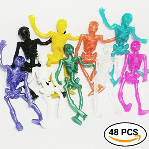 UpBrands Stretchy Skeleton 48 Pack 4 dz. Bulk Set 9 Colors, Kit suitable for Birthday Party Favors for Kids, Goodie Bags, Easter Egg Basket Stuffers, Pinata Filler, Small Toys Classroom Prizes (Rubber Skeleton)