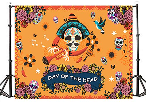 TMOTN 7x5ft Day The Dead Photography Backdrop Mexican Sugar Skull Background Vinyl Halloween Skulls Party Supplies Backdrops Party Banner Decoration D2168 ()