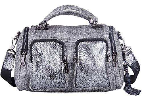 Western Canvas Handbags for Women Faux PU Leather Crossover Shoulder Bag Satchel Purse Black