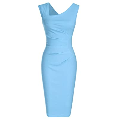 MUXXN Women's Retro 1950s Style Sleeveless Slim Business Pencil Dress: Clothing
