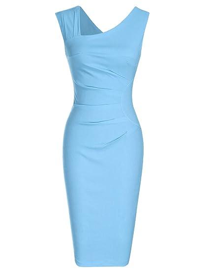 403df8ad MUXXN Women's Retro 1950s Style Sleeveless Slim Business Pencil Dress