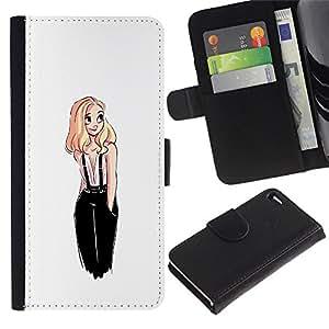 Billetera de Cuero Caso del tirón Titular de la tarjeta Carcasa Funda del zurriago para Apple Iphone 4 / 4S / Business Style Sweet Cute Girl White Blonde Drawing