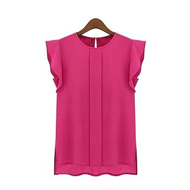 7d25bb95cce Kangma Women Summer Casual Loose Chiffon Short Tulip Sleeve Tops ...