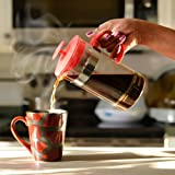French Coffee Press, Best Quality Glass with Stainless Steel Filter System: Large 1-Liter, 34 oz., for Coffee, Tea, Espresso in Exciting, Bold Red Color