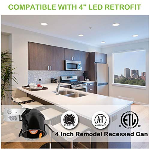 Hykolity 4 Inch Remodel Recessed Light Can Housing 12 Pack, Shallow Type Airtight IC Housing with TP24 Connector for LED Recessed Downlight Retrofit Kit,ETL Listed by hykolity (Image #1)