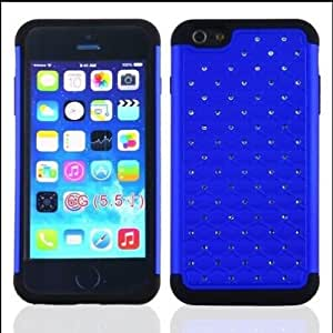 "iPhone 6 Case , Allmet iPhone 6, 6th 5.5"""" Generation Studded Armor Dazzling Diamond Hybrid Silicone Hard Stars Case Cover,Premium Dual Layer Hybrid Back Cover Case Protection with Bling Diamond Rhineston,Spot Diamond Bling Hard Shell for iPhone 6 (5.5) (Blue+Black)"