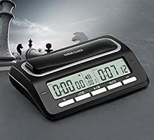 BESTTRENDY Professional Digital Chess Clock for Chess, Chinese Chess, I-GO, Board Game, Timing Game Color Black